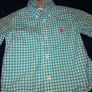 Raulph Lauren, blue checkered button shirt 24 mont